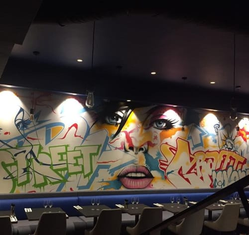 Murals by Crey132 seen at Arty Le restaurant, Paris - Arty