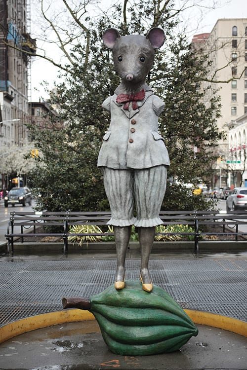 Public Sculptures by Kathy Ruttenberg seen at West 79th Street, New York - Ms. Mighty Mouse