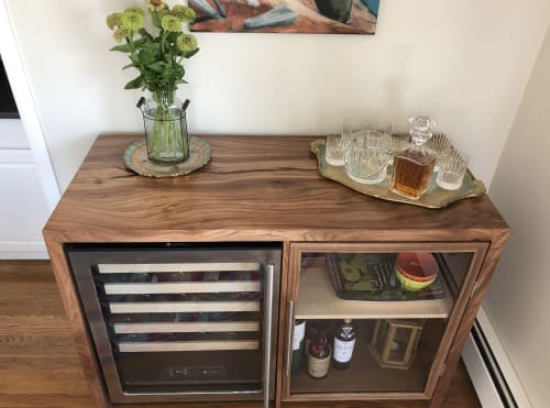 Furniture by Zawalich Woodwork + Design seen at Private Residence, Little Compton - Elm Liquor Cabinet