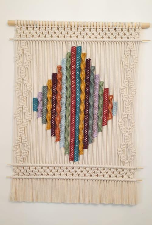 Rainbow Diamond   Macrame Wall Hanging by Leonor MacraMaker