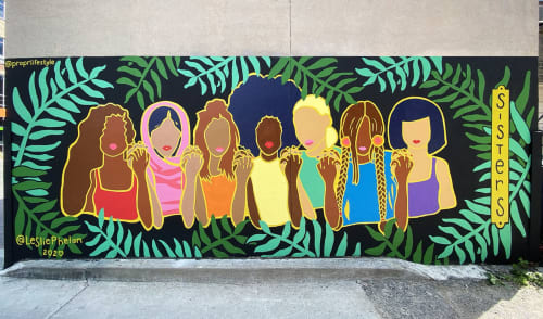 Street Murals by Leslie Phelan Mural Art + Design seen at 458 Ossington Ave, Toronto - SISTERS Mural: Propr Life + Style