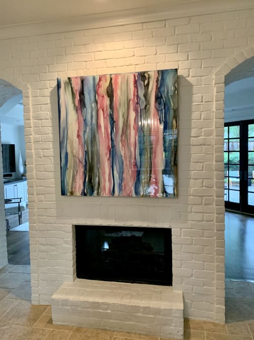 Paintings by Julie Pelaez Studios seen at Private Residence, Houston - 4ft x 4ft Art Commission