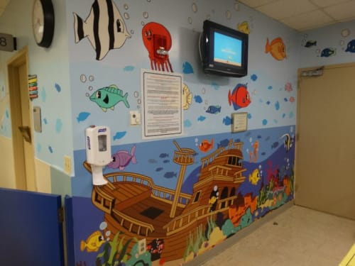 Murals by Jorge-Miguel Rodriguez seen at Holtz Children's Hospital, Miami - Under The Sea