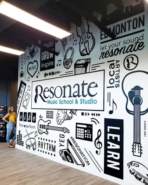 Murals by Alixandra Jade (Alixandra Jade Art & Design Co.) seen at Resonate Music School & Studio, Edmonton - Resonate Music School & Studio Mural