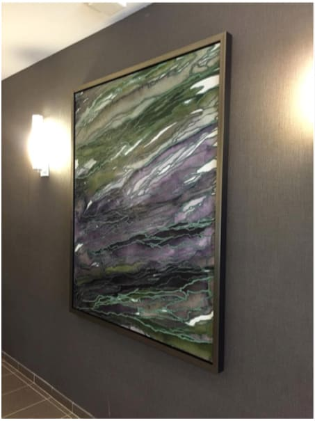 "Paintings by Julia Di Sano seen at Quarry Place at Tuckahoe, Tuckahoe - ""Agate Magic, Green Purple"" Fine Art Print, at Quarry Place, Tuckahoe, NY"