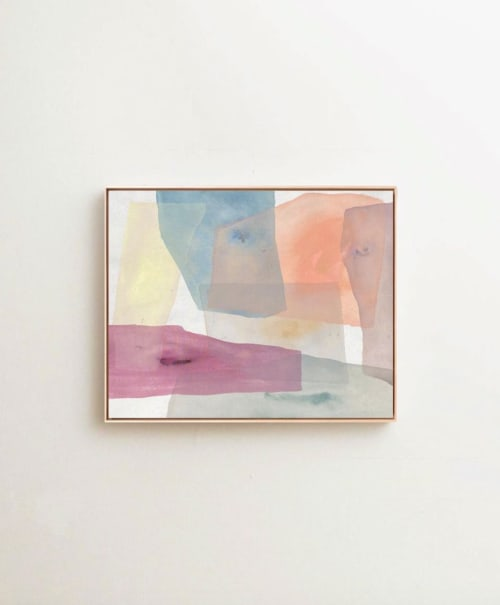 "Paintings by maja dlugolecki seen at Private Residence, Santa Monica - 'morning coffee in an orange hammock', 24"" x 30"""