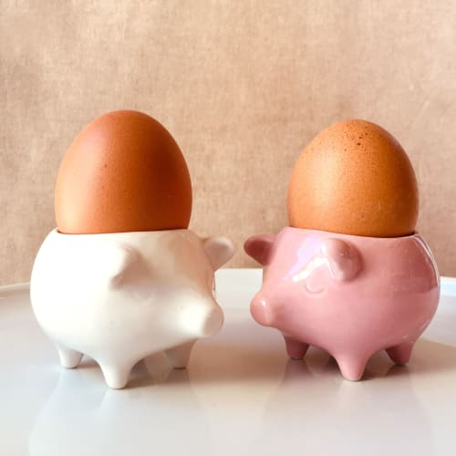 Tableware by Maia Ming Designs seen at Private Residence, Elk Grove Village - Bacon n' Eggs Pig Eggcups