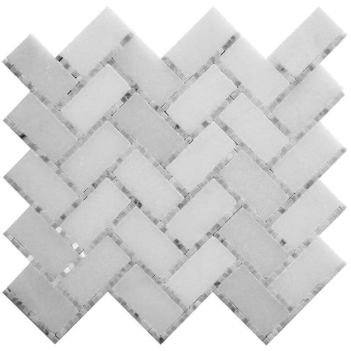 Tiles by Tile Club seen at Private Residence, Atlanta - Lexington White Marble Mosaic Tile