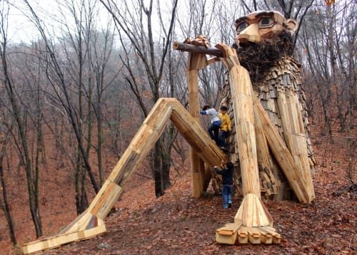 Public Sculptures by Thomas Dambo seen at Pyeonggang Botanical Garden, Pocheon-si - Old Wise Woo
