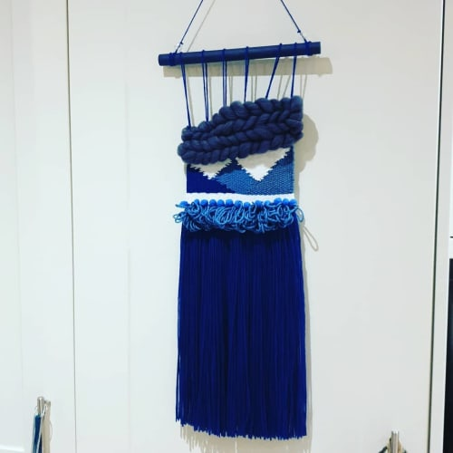 Macrame Wall Hanging by PomEffect seen at Private Residence, Kingston upon Hull - Navy Blue Pompom