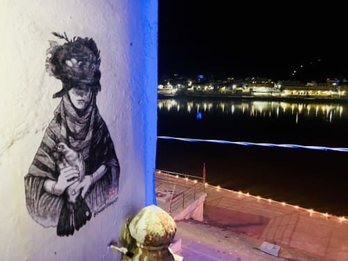 Murals by Made of Hagop seen at Pushkar Lake, Pushkar - Peace Dove
