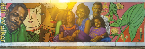 Street Murals by Rahmaan Statik Barnes seen at East 64th Street & South Dorchester Avenue, Chicago - Bill walker and  Obama family