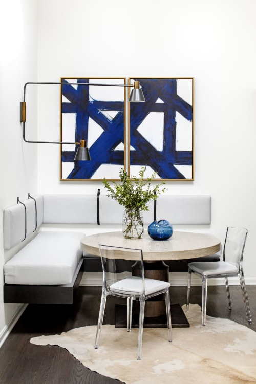 Paintings by Ilana Greenberg seen at Private Residence, Pikesville - Crossing Paths Diptych Painting
