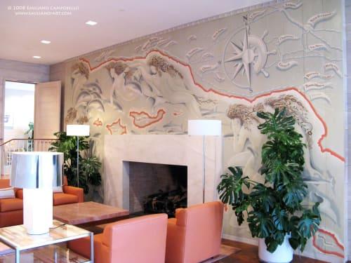 Murals by Emiliano Art & Design seen at Coral Casino Beach & Cabana Club, Santa Barbara - Coral Casino Maritime Mural Historical Restoration