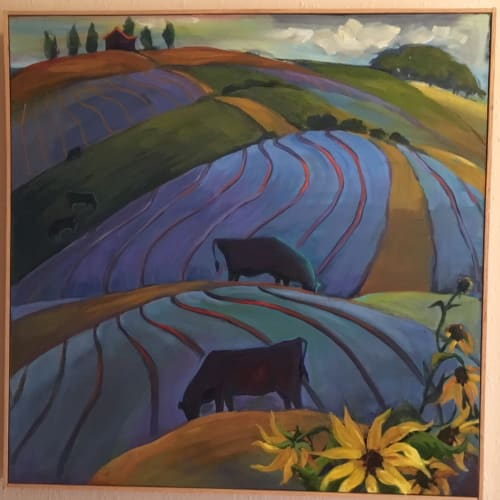 """Paintings by Pam Pappas seen at European Cafe and Restaurant, Colorado Springs - """"Rolling Blues"""" oil on canvas 30"""" x 30"""""""