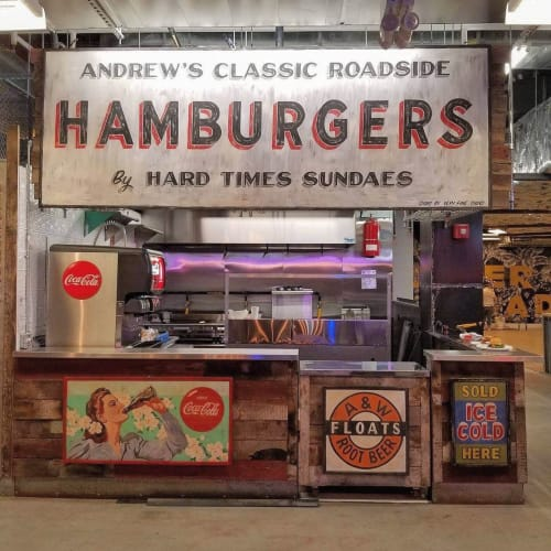 Signage by Very Fine Signs seen at 445 Albee Square W, Brooklyn - Andrew's Hamburgers