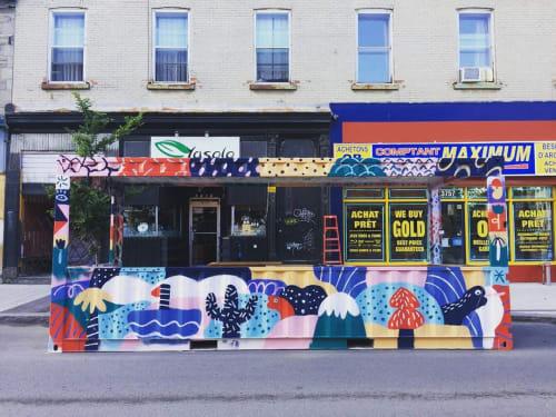 Street Murals by Marc-Olivier Lamothe seen at 3367 Rue Notre-Dame Est, Montréal - New Art Piece / Chilling Area