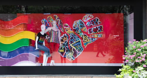 Murals by The DRiF seen at Macy's, New York - NYC Pride's WorldPride Mural Project