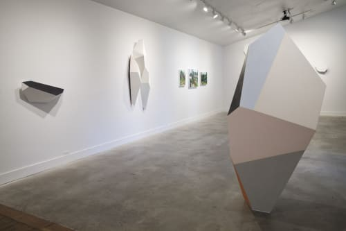 Sculptures by Dameon Lester seen at grayDUCK Gallery, Austin - Black & Blue on Pale Fragmentation