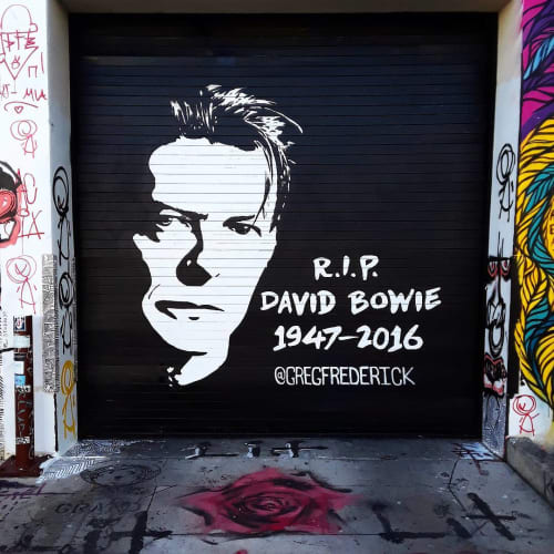 Street Murals by Greg Frederick seen at 219 NW 23rd St, Miami - RIP David Bowie