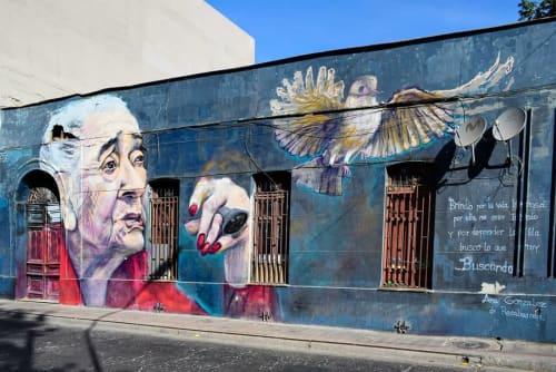 Street Murals by COAS seen at Barrio Yungay, Santiago - Ana González de Recabarren