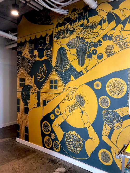 Murals by Jen Bloomer of Radici Studios seen at Bini's Kitchen, San Francisco - Momo Mural