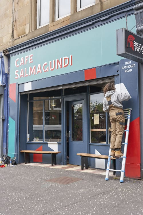 Signage by Rachel E Millar seen at Glasgow, Glasgow - Cafe Salmagundi Signwriting