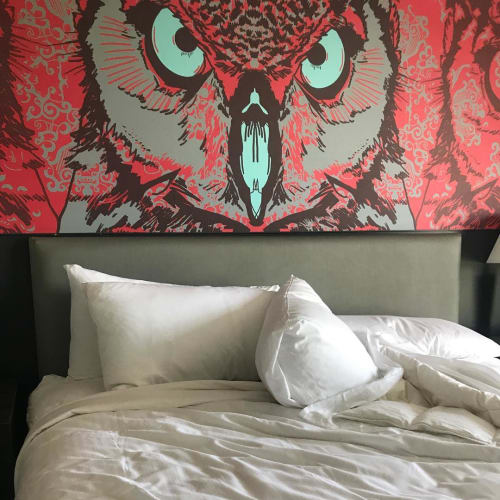 Murals by Jay LaCouture seen at Studio Allston Hotel, Boston - Owl