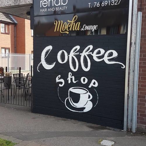 Murals by Katie O Art seen at Mocha Lounge, Coventry - Coffee Shop Sign