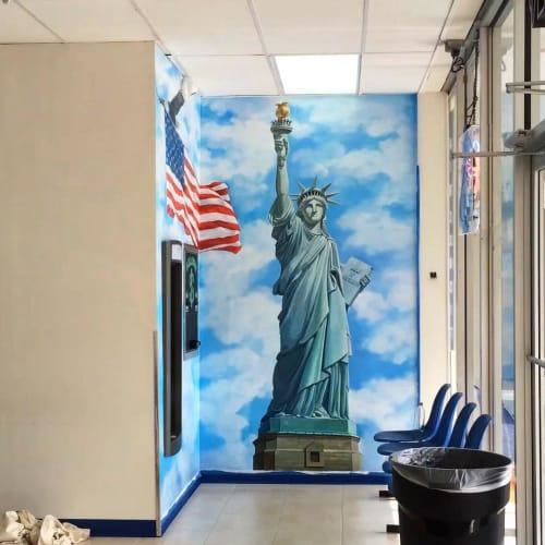 Murals by Murals by Georgeta (Fondos) seen at Liberty Laundry LLC, Lauderdale Lakes - Liberty Mural