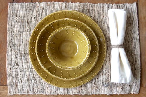 Dot Design Dinnerware Collection - in Spicy Mustard   Ceramic Plates by Back Bay Pottery