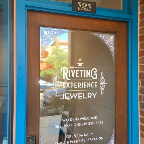Signage by Ovierre seen at Riveting Experience Jewelry, Salida - Window Vinyl Signage
