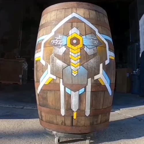 Murals by Zac Campbell seen at Beehive Distilling, South Salt Lake - Barrel mural