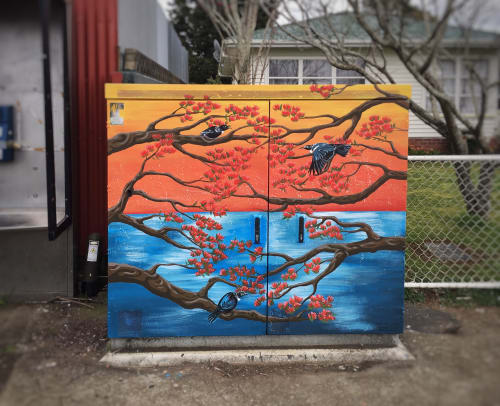 Murals by Manabell Design seen at Beatty Road, Pukekohe - Tui powerbox