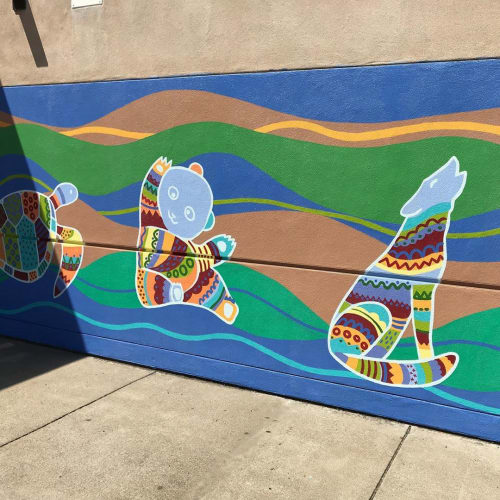 Murals by Flo de Bretagne seen at Henry Ford Elementary School, Redwood City - Wall Mural