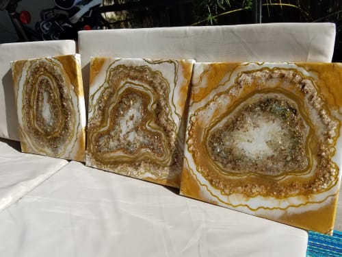 Original Resin paintings, Golden Geodes by Molly Silverman