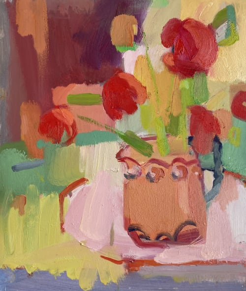 Paintings by Rosie Copeland seen at Philglas & Swiggot, London - Sunny Flowers - Still life painting