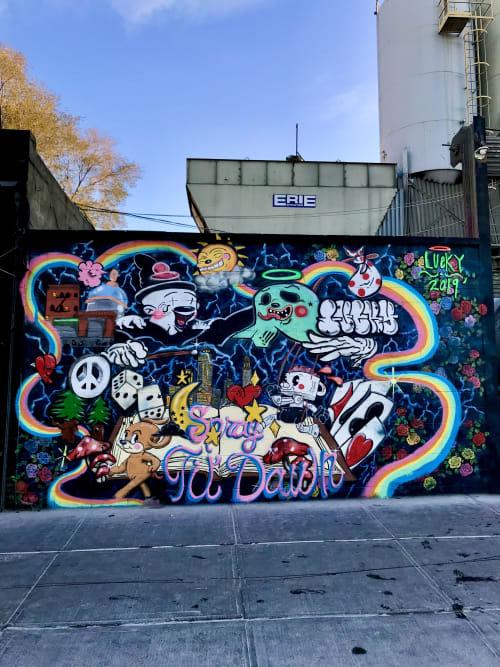 Murals by Lucky Rabbit seen at Bushwick, Brooklyn - Magicians & Puppet