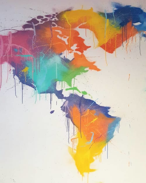 Murals by Mark One87 seen at Private Residence, Gateshead - Abstract World Map