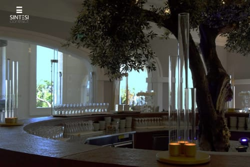 Lamps by Sintesi Contract seen at Reception Hall Park Domingo, Gravina in Puglia - Glass Tubes Led Lighting