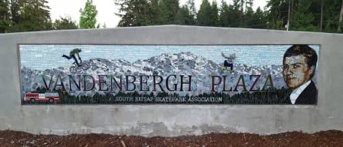 Public Mosaics by JK Mosaic, LLC seen at South Kitsap Regional Park, Port Orchard - Port Orchard Skatepark Mosaic