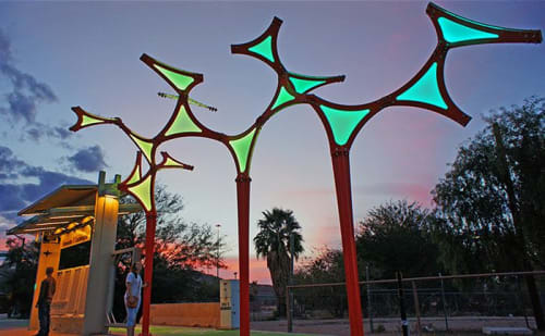 Public Sculptures by Creative Machines seen at West Cushing Street, Tucson - Wandering Stars