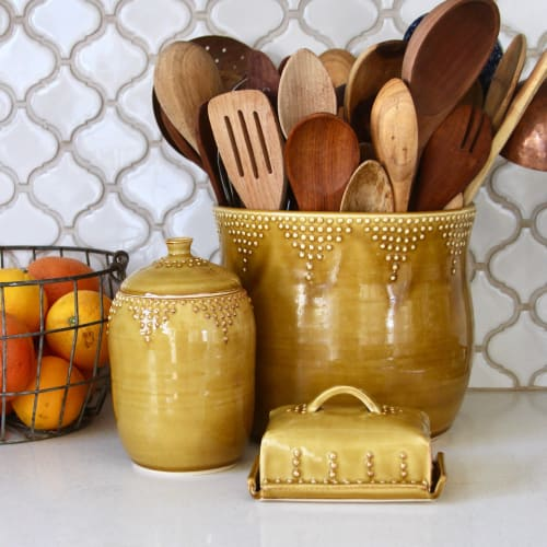 Interior Design by Back Bay Pottery seen at Private Residence, Baywood-Los Osos - Dot Design Jumbo Utensil Holder in Spicy Mustard Yellow