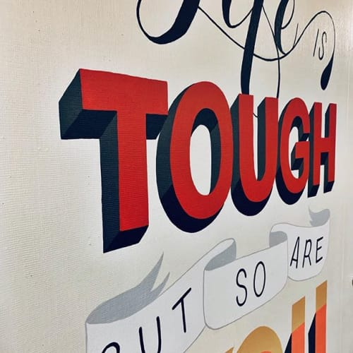 Murals by Two Brushes seen at Head O'Meadow Elementary School, Newtown - Life is tough, but so are you
