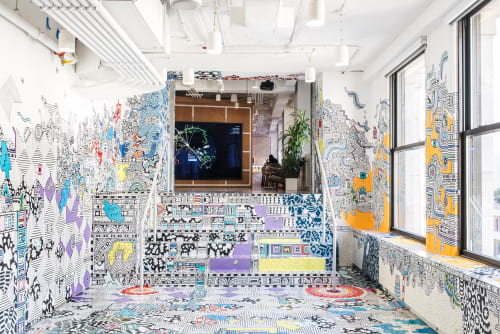 Murals by Sophie Roach seen at Facebook, New York, Astor Place, New York - Facebook Artist in Residence - NYC - 2017