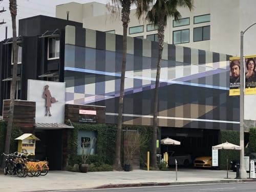 Murals by Gary Paller - Artist seen at Farmer's Daughter Hotel, Los Angeles - Geometric Gingham Murals