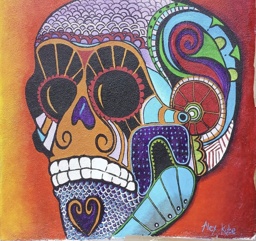 Murals by Alexandra Kube seen at Mercado Hollywood, Los Angeles - Vivid Skull