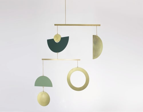 Sculptures by Circle & Line seen at Private Residence, Austin - Canopy Mobile in Green and Polished Brass