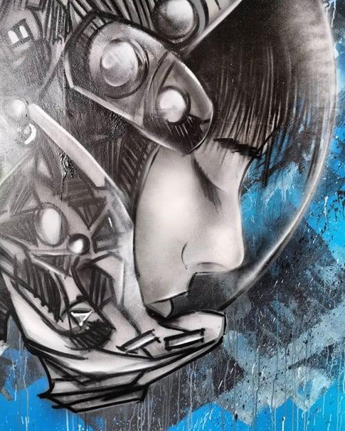 Murals by SNUB23 seen at Dark Star Brewery Shop, Partridge Green - DARKSTAR Brewery
