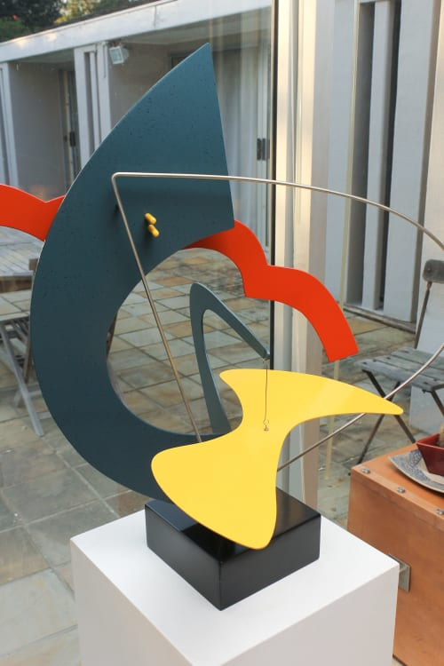 """Sculptures by Paul Stein Sculpture seen at Private Residence - Cape Town, South Africa, Cape Town - """" Inquiring Mind""""    Indoor table/ pedestal sculpture with a  moving part"""